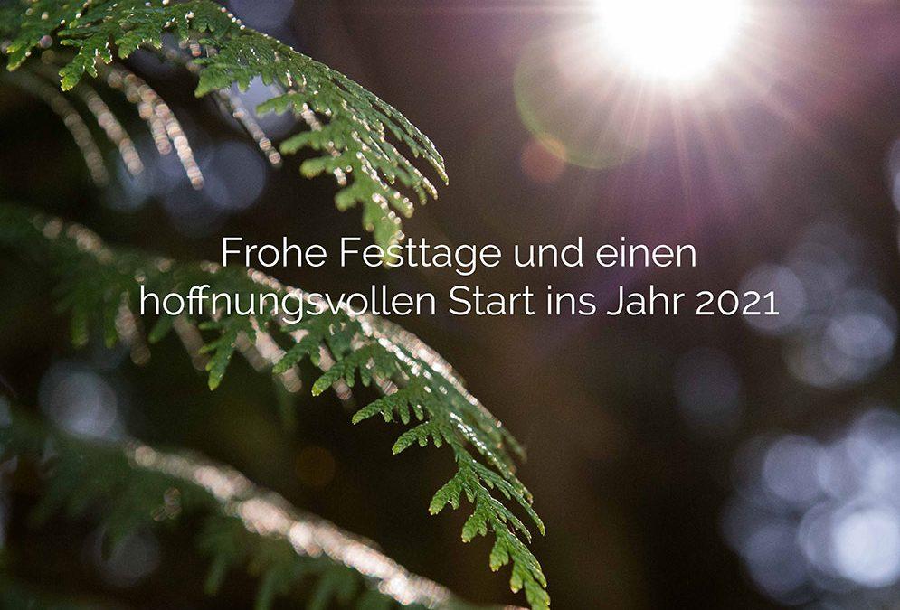 Frohe Festtage und einen hoffnungsvollen Start in Jahr 2021